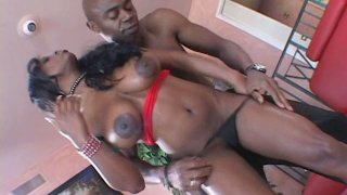 Cuddly black babe Jada Fire hoping in reverse cowgirl style image