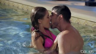 Sensual steaming hot sex by the pool with cum on tits image