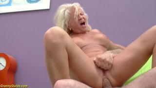 sexy blonde 73 years old granny enjoys her first rough big cock anl sex lesson image