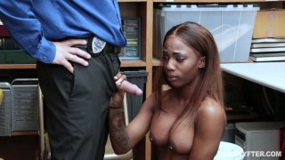 Image: Ebony with pierced tits has her dripping wet pussy punished