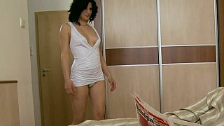Old fart seduced by a horny young brunette image