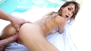 Ana Rose oiled up and fucked by the pool by a enormous cock image