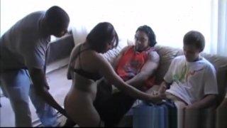 Hot amateur ebony babe gangbanged_on sex party image
