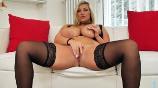 Image: Big titted blonde Czech milf masturbating her shaved pussy