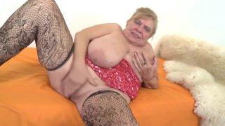 Image: Fat chubby grandma Darla masturbating.