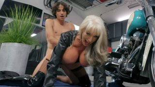 Granny Sally D'Angelo gets pusy drilled from behind image