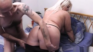 Husband cheats on wife with blonde bbw image