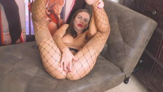 Image: Solo Girl in Layered Nylon Fishnet Pantyhose Over Stockings_Masturbate