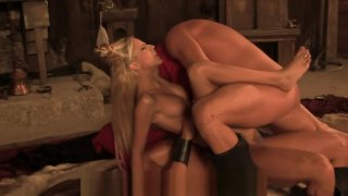 Long Haired Blonde Slut Services Warriors For Their Service image