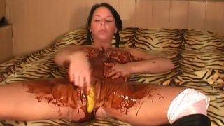 Big Tits, Choco and_Banana Masturbation image
