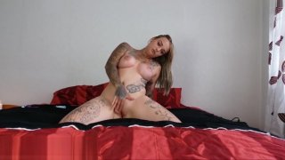 My Dirty Hobby - Busty tattooed chick gets oiled and dirty image