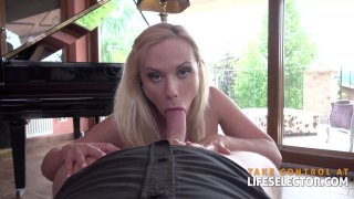 Blonde MILF with small tits deepthroats and gets screwed image