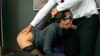 Image: Lana Mars gets her face fucked by Jmac in the office
