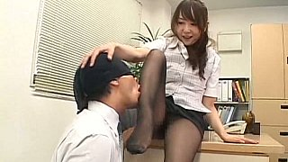 Japanese secretary in pantyhose gets it on a desk image
