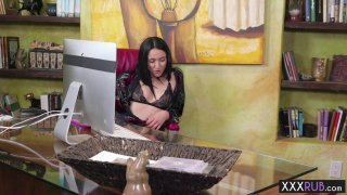 Hot brunette MILF massage sucks and rides clients cock image