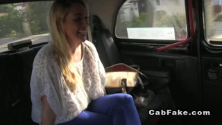 Cab driver fucks blonde on a hood image