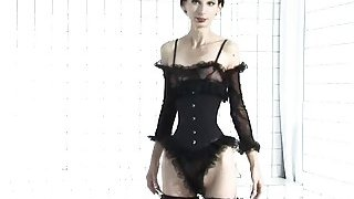 Anorexic queen Ioana Spangenberg poses in lingerie and stockings solo image