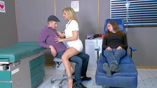 Horny nurse Julia Ann seducing Danny D while his girlfriend is dosing off image