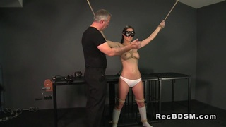 Tied up slave gets_cunt vibrated and gagged image