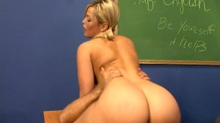 Fabulous blonde babe Alexis Texas rides cock on_the teacher's table image