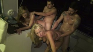 Filthy whores Kira Koi and Trixie Star participate in orgy image