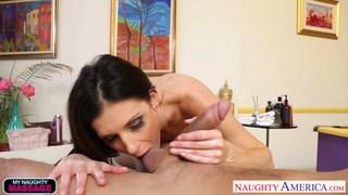 Slim hottie India Summer massaging a big cock image