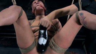Swinging tied up tattooed bitch Syd Blakovich is treated in BDSM way image