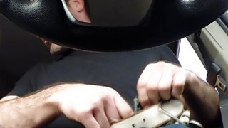 This hot Janice gives a overwhelming blowjob to Charles while_driving a car image