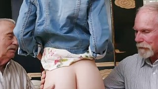 Old men exploit young hot redhead teen Dolly Little image