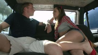 Horny slut Kristina Rose seduces a guy and fucks him in a truck image
