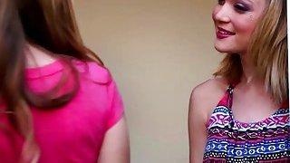 Blonde lesbian Dakota Skye kisses attractive babe Jillian Janson and leads to lesbians sex image