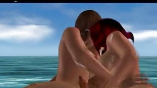 Hot threesome on the beach image