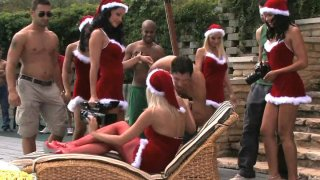 Five sexy santas are having orgy new year party image