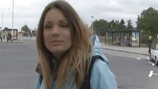 Czech babe shows her tits and pussy in public image