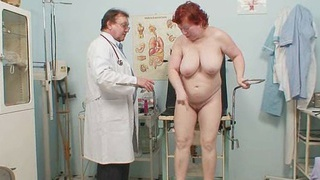 Aged redhead_woman hairy pussy gyno exam image