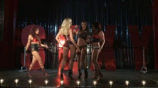 Dirty bitches Jessica Drake, Kaylani Lei, Alektra Blue and Brandy Aniston perform_on a stage and later fuck each other image