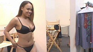 Plumpy model in black bikini showing her nude body image