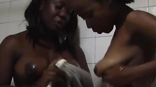 Soapy shower and hot lesbian action with two_hot African sluts image