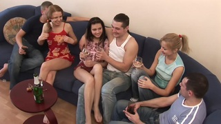 Analia Flores & Katrin & Inna Buslaeva in lusty college_orgy_with nasty petite bimbos image