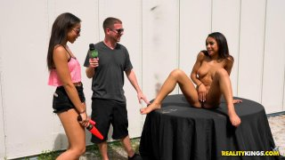 Ebony chick gets fucked by a drone for sweet moolah image