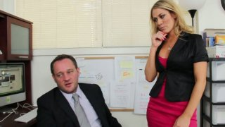 Horny office assistant Amber Ashlee fucks her boss in the office image
