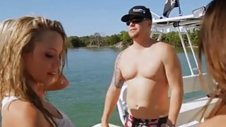 Sexy badass babes jetskiing and spear fishing in nude image