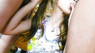 Naughty girl Anri Hoshizaki gives amazing blowjobs to her friends image