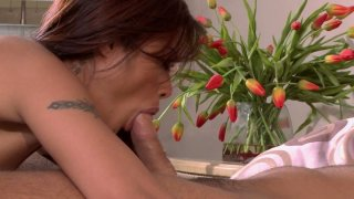 Horny slut Kaylani Lei gets her pink pussy eaten and later gives a_hot blowjob image