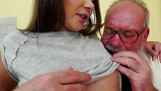 Russian Liza Shay licked sucks dick and fucked by a grandpa image