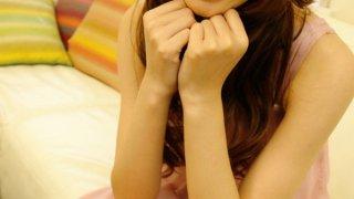 Kotone Aisaki Asian teen fondles her hairy pussy image