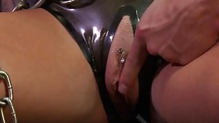 Chained big boobs sub gets fucked till cumshot image