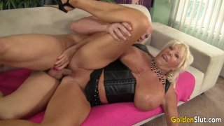 Busty Grandma Mandi McGraw Sucks a Cock and Then Rides It with Enthusiasm image