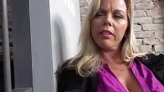 Blonde MILF with huge tits Amber Lynn Bach fucked hard by BBC image