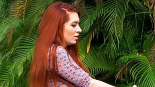 Bossy redhead MILF licks a petite teen pussy outdoor image
